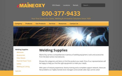 Screenshot of Products Page maineoxy.com - Welding Supplies - Maine Oxy   Specialty Gases and Welding Supplies - captured May 26, 2017