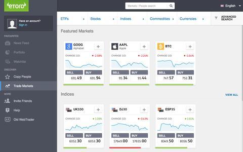 Markets on eToro