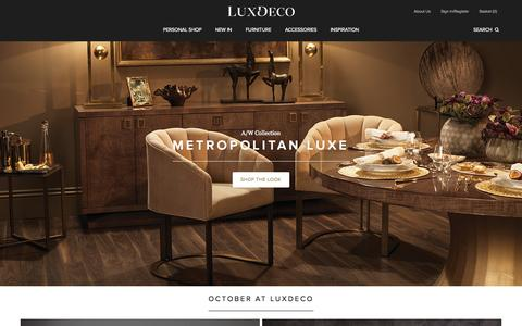 Screenshot of Home Page luxdeco.com - LuxDeco.com Luxury Furniture, Designer Homeware, Accessories & Gifts - captured Oct. 1, 2015