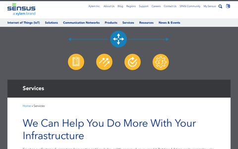 Screenshot of Services Page sensus.com - Sensus Services - captured April 28, 2019