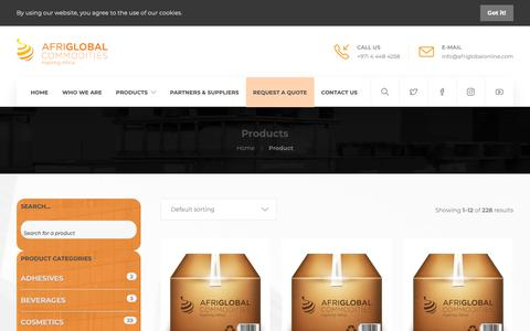 Screenshot of Products Page afriglobalonline.com - Products – Afriglobal Commodities - captured Oct. 3, 2018