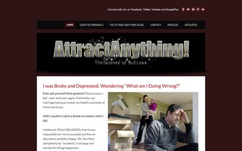 Screenshot of Home Page attractanything.com - AttractAnything - Law of Attraction | Attraction Tips to Attract Money And Prosperity - AttractAnything - captured Sept. 4, 2015