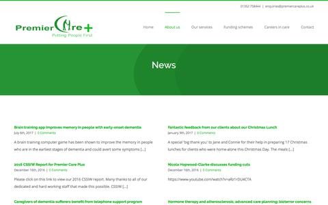 Screenshot of Press Page premiercareplus.co.uk - News – Premier Care Plus - captured Aug. 16, 2017