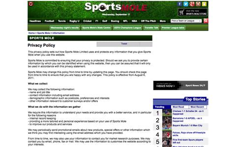 Screenshot of Privacy Page sportsmole.co.uk - Privacy Policy - Sports Mole - captured Sept. 18, 2014