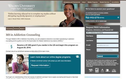 Screenshot of Landing Page waldenu.edu - Walden Programs - Counseling - Master's - MS in Addiction Counseling - captured Aug. 25, 2016