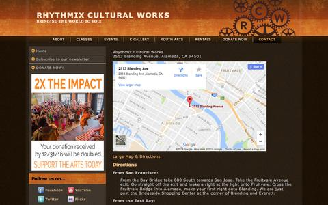 Screenshot of Maps & Directions Page rhythmix.org - Rhythmix Cultural Works - Map / Directions - captured Dec. 6, 2016
