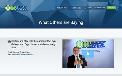 Screenshot of Testimonials Page onjax.com - Onjax Real Estate Technology - captured Nov. 13, 2017