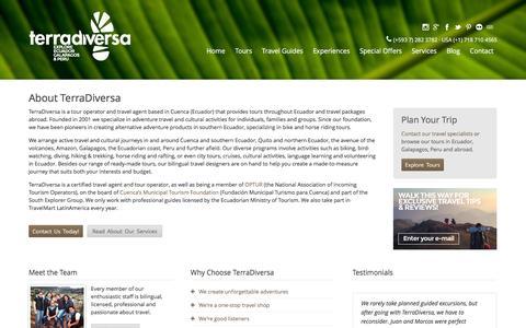 Screenshot of About Page terradiversa.com - Tour Operator & Travel Agent · Ecuador Travel | TerraDiversa - captured Feb. 14, 2016