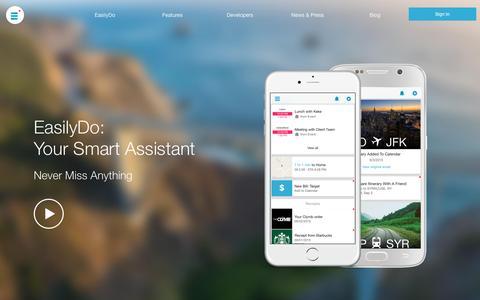 Screenshot of Home Page easilydo.com - Easilydo Productivity Apps for Emails, Contacts & Calendars - captured Oct. 1, 2015