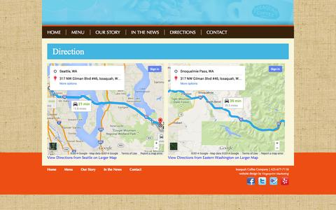 Screenshot of Maps & Directions Page issaquahcoffee.com - Directions :: Issaquah Coffee Company | 425-677-7118 - captured Oct. 6, 2014