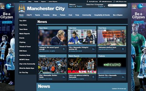 Screenshot of Press Page mcfc.co.uk - Manchester City News | Features | Match Reports & Tickets News - Manchester City FC - captured Oct. 29, 2014