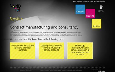 Screenshot of Services Page nandipl.com - Contract Manufacturing, Consultancy for Manufacturing of Chemicals – NAND ipl - captured Nov. 6, 2017