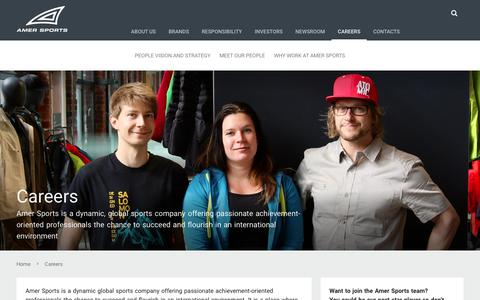 Screenshot of Jobs Page amersports.com - Careers | Amer Sports - captured March 22, 2018