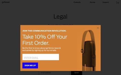 Screenshot of Terms Page gotenna.com - Legal - captured Aug. 1, 2017