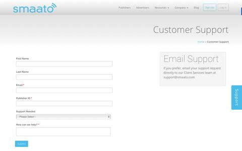 Screenshot of Support Page smaato.com - Customer Support - Smaato - captured Dec. 4, 2015