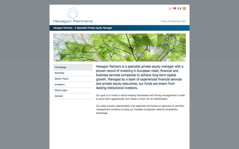 Screenshot of Home Page hexagonpartners.com - Hexagon Partners - A Specialist Private Equity Manager - captured Sept. 26, 2014