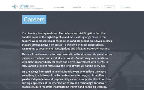 Screenshot of Jobs Page ifrahlaw.com - Law Careers | Ifrah Law PLLC - captured Oct. 14, 2017