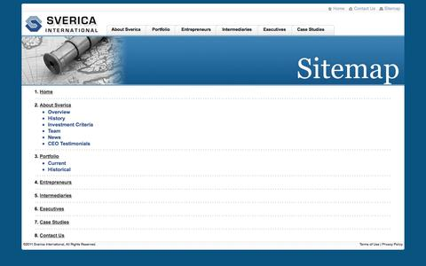Screenshot of Site Map Page sverica.com - Sverica International - captured Oct. 6, 2014