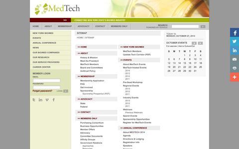 Screenshot of Site Map Page medtech.org - Sitemap - Medtech - captured Oct. 27, 2014