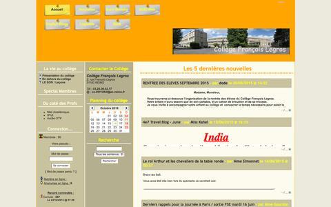 Screenshot of Home Page clg-f-legros.fr - Collège François Legros-Reims - captured Oct. 16, 2015