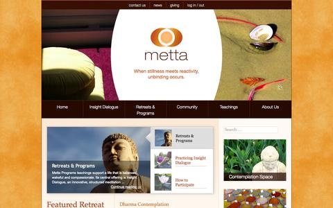Screenshot of Home Page metta.org - Metta Programs - Insight Dialogue - captured Oct. 6, 2014