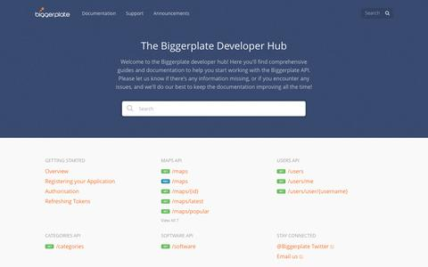 Screenshot of Developers Page biggerplate.com - Biggerplate - captured July 29, 2016
