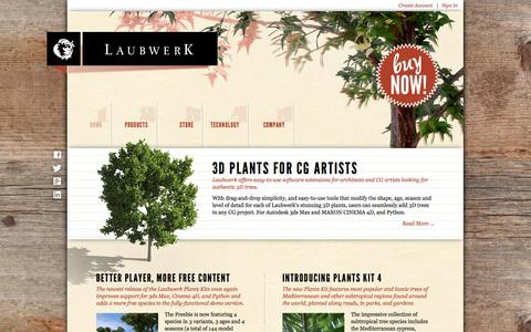 Screenshot of Home Page laubwerk.com - Laubwerk – 3D Plants for CG Artists – 3D Tree Models - captured Sept. 29, 2014