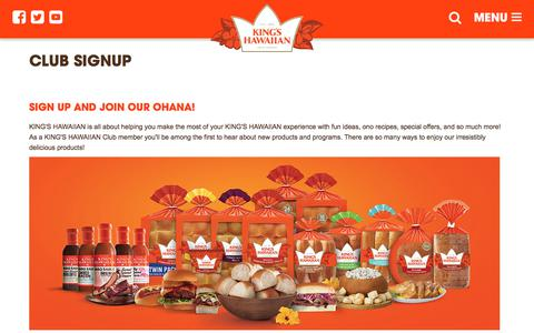 Screenshot of Signup Page kingshawaiian.com - Club - captured Sept. 20, 2018