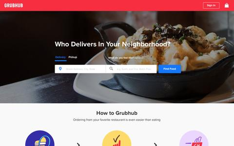 Screenshot of Home Page grubhub.com - Food Delivery | Restaurant Takeout | Order Food Online | Grubhub - captured Feb. 2, 2016