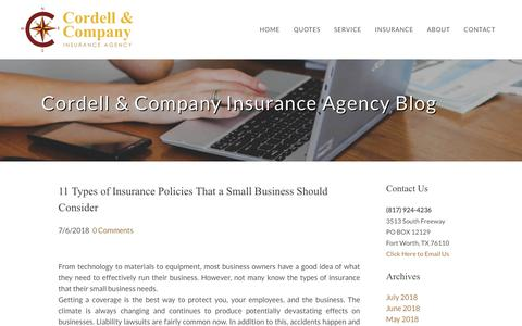 Screenshot of Blog cordellinsurance.com - Cordell & Company Insurance Agency - Insurance Agency Blog Sample Page - captured Sept. 29, 2018