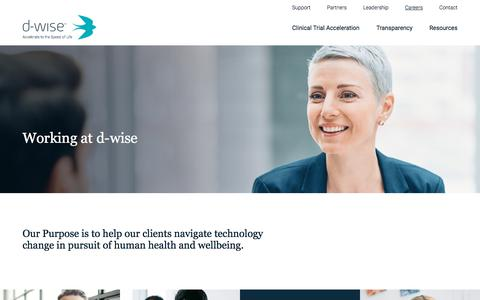 Screenshot of Jobs Page d-wise.com - Careers - captured Oct. 12, 2019