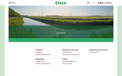 Screenshot of Contact Page eteck.nl - Contact - Eteck - captured Aug. 26, 2017