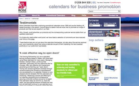 Screenshot of Testimonials Page rosecalendars.co.uk - Testimonials - Rose Calendars - captured Dec. 2, 2016