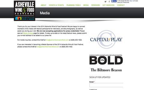 Screenshot of Press Page ashevillewineandfood.com - Media | Asheville Wine & Food Festival - captured Oct. 4, 2014