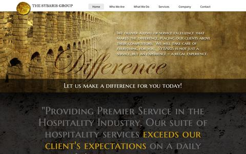 Screenshot of Home Page sybarisgroup.com - The SYBARIS Group - Luxury Hospitality Services - captured Oct. 3, 2014