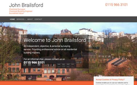 Screenshot of Home Page Privacy Page johnbrailsford.co.uk - John Brailsford Chartered Surveyors Nottingham - captured Oct. 14, 2018