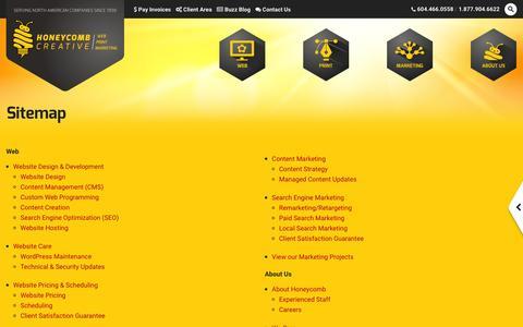 Screenshot of Site Map Page honeycombcreative.com - Vancouver Print & Web Company, Sitemap | Honeycomb Creative - captured Nov. 12, 2016