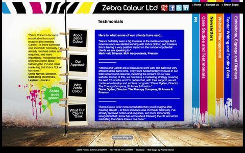 Screenshot of Testimonials Page zebracolour.co.uk - Zebra Colour :: Testimonials - captured Jan. 10, 2016