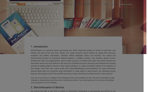 Screenshot of Terms Page wegotplayers.com - Terms of Service - captured Jan. 10, 2016