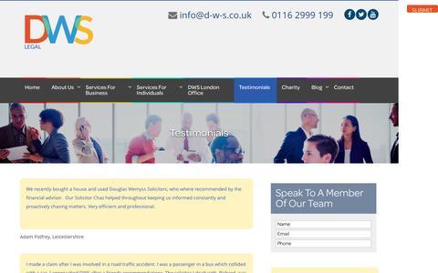 Screenshot of Testimonials Page d-w-s.co.uk - Testimonials - DWS Solicitors - captured Nov. 24, 2016