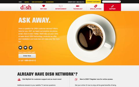 Screenshot of Support Page dish.com - DISH Network Customer Service & Support | DISH - captured Oct. 29, 2014