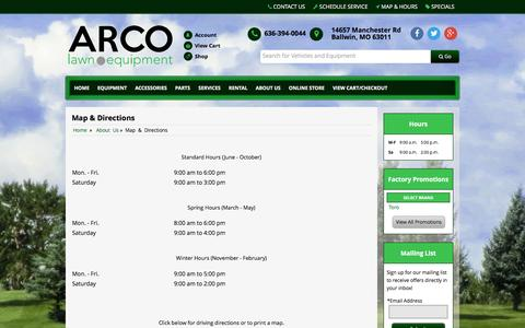 Screenshot of Maps & Directions Page arcolawn.com - Map and Driving Directions ARCO Lawn Equipment Ballwin, MO 636-394-0044 - captured Feb. 7, 2016