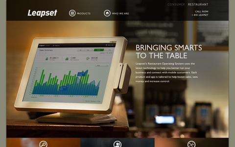Screenshot of Home Page leapset.com - Restaurant POS & Guest Manager System Powered by BuzzTable | Leapset - captured July 11, 2014