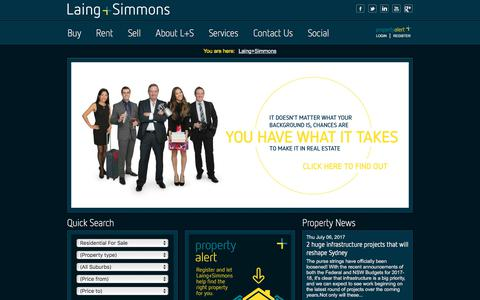Screenshot of Home Page lsre.com.au - Residential and Commercial Real Estate NSW | Laing+Simmons - captured July 12, 2017
