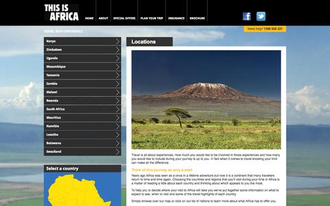 Screenshot of Locations Page thisisafrica.com.au - This is Africa > Plan your trip > Locations - captured Oct. 9, 2014