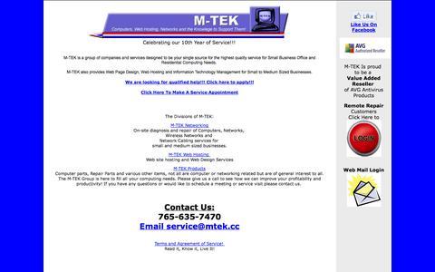 Screenshot of Home Page mtek.cc - M-TEK Home... We can fix that!!! - captured Oct. 3, 2014