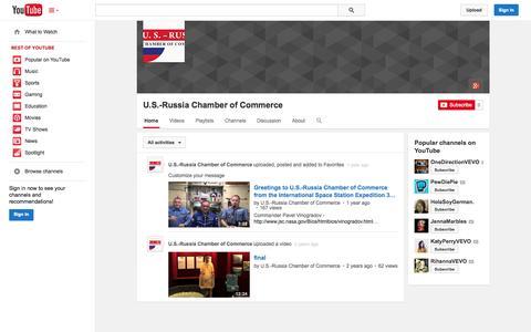 Screenshot of YouTube Page youtube.com - U.S.-Russia Chamber of Commerce  - YouTube - captured Nov. 2, 2014