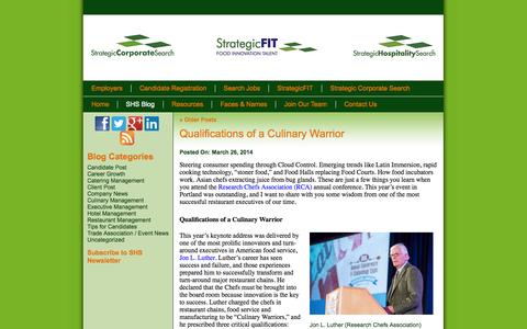 Screenshot of Blog strategichospitalitysearch.com - Blog - captured Sept. 30, 2014