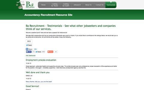 Screenshot of Testimonials Page barecruitment.co.uk - Ba Recruitment - Testimonials - See what other jobseekers and companies think of our services. - captured Oct. 5, 2014