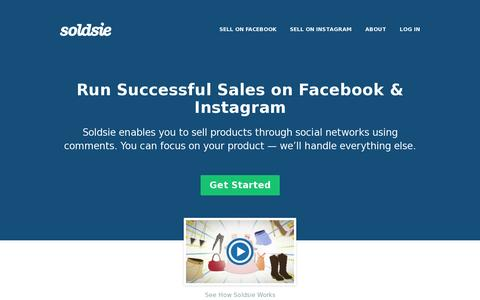 Screenshot of Home Page soldsie.com - Sell on Facebook and Instagram with Soldsie - captured July 11, 2014